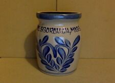 "Antique Stoneware Crock 6"" High. Tan. Cobolt Blue Designs. Lanllsborough, Mass"