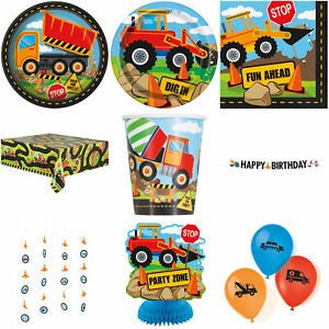 Boys Construction Birthday Party Plates Decorations Banners