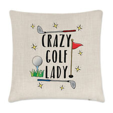 Crazy Golf Lady Linen Cushion Cover Pillow - Funny Mum Mother's Day Sport