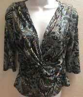 top blouse medium m womens brown blue paisley print v neck stretch casual