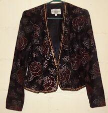 Nah Nah Collections Formal Jacket Velvet Black Roses Size 6 Johathan Tait