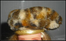 HAT  BARBIE SHOPPING CHIC DOLL FAUX FUR ANIMAL PRINT HAT ACCESSORY  FOR DIORAMA