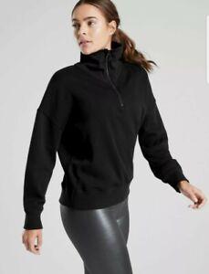 New! Athleta Cozy Karma 1/4 Zip Top Black Size Small #510393