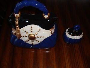 David's Cookies Navy Handbag Ceramic Decorative Cookie/Sugar Jars Set  NIB
