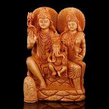 Large Shiva Family Statue Hindu Lord Shankar Ganesh Parvati Wood Carved God idol