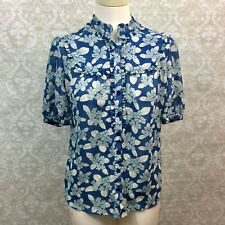 Fossil Small Womens Blue White Flower Ruffle Button-up Blouse IB2