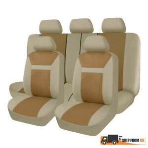 Universal Car Beige Seat Covers Washable Airbag Safe Auto Breathable Protector