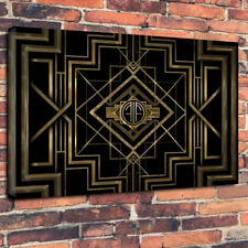 """Art Deco Vintage Printed Box Canvas Picture A1.30""""x20"""" Deep 30mm Frame Wall Art"""