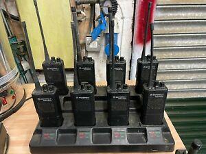 Motorola GP 300 handheld radios and 8 way charger station