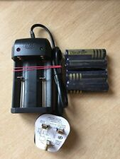 4 X 18650 4000mah Ultrafire Batteries And Charger Having A  Fused UK Plug