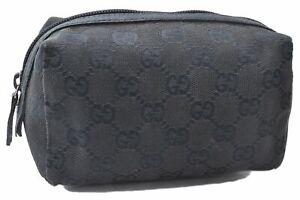 Authentic GUCCI Cosmetic Pouch GG Canvas Leather 29595 Black E0876