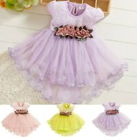 Toddler Baby Kids Girl Dress Flowers Bownot Tulle Ruched Princess Dress Clothes