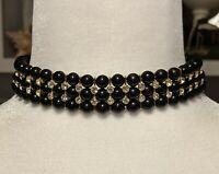 BEAUTIFUL TRIPLE STRAND BLACK BEAD & RHINESTONE CHOKER NECKLACE WOMEN'S JEWELRY