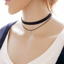 Pop Fashion Classic Trendy Black Choker Necklace with Triangle Charm MSRP $14.99