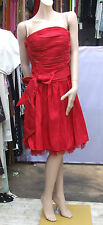 Jora Collection UK 12 Super Vibrant Red Taffeta Eve Dress Gown with Mesh & Scarf