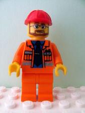 LEGO Minifig cty015 @@ Construction Foreman - Orange Jacket Blue Shirt - 7243