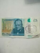 New 5 pounds note AB41 270476 Someone's birthday