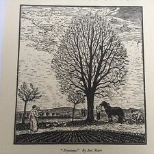 1930s Woodcut Print Printemps by Ant Majer: Farm Scene, Horse, Plough, Ploughing