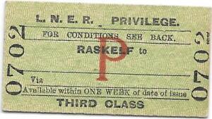 LNER Railway ticket : Raskelf - closed 1958