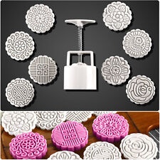 8 Flower Stamps Round Baking Mooncake DIY Mold Pastry Biscuit Cake Mould 100g