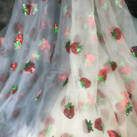 1m Lovely Strawberry Sequins Tulle Lace Mesh Fabric DIY Tutu Dress Veil Curtains