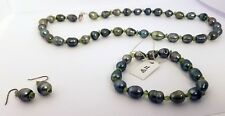 Green Ringed Pearl And Peridot Chip Necklace Bracelet And Earring Set New In Box
