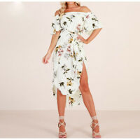 White Floral Off Shoulder Bardot Short Sleeve Midi Dress Sizes 6-14 Boutique