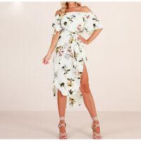 White Floral Off Shoulder Bardot Short Sleeve Midi Dress Sizes 6-14 Boutique