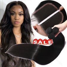 Unprocessed Virgin Human Hair Extensions 3Bundles With 4*4 Lace Closure Straight