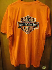 GUIDO's LIQUOR ~ Damn! Dat's Cold Beer! ~ Motorcycle Logo T Shirt LRG Orange