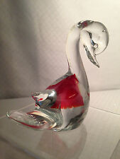 Murano Clear Glass Swan Figurine with Beautiful Red Inclusion