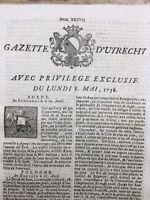Gazette d'Utrecht 1758 Marburg Dorsten Wezel Louisbourg Canada Gibraltar Dantzi