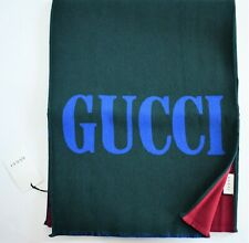 New Authentic GUCCI Green Red LOGO Printed JACQUARD WOOL SILK Long Scarf