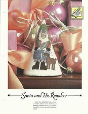 SANTA AND HIS REINDEER CONE COUNTED CROSS STITCH OXMOOR HOUSE DESIGN