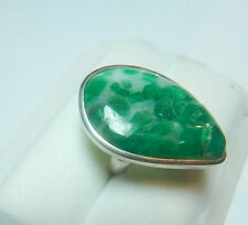 Colombian Emerald Ring Large Pear Shape 26.15 Cts Silver 950 F Size 8.75US Muzo
