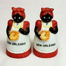 Vintage 1977 AUNT JEMIMA New Orleans Black Americana SALT & PEPPER Shakers MINT
