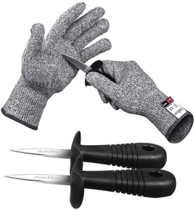 Oyster shucking Knife Set Shucker Cut Resistant Glove Level 5 Protection Gift