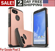Google Pixel 3 Rugged Case w/ Screen Protector Shock Proof Phone Cover Rose Gold