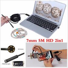 2IN1 7mm 5M teléfono Android USB Boroscopio Endoscopio IP67 impermeable cámara HD LED