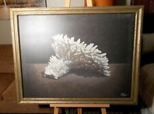 """Coral Art From Z Gallerie 35"""" x 45"""" Illegible Signature"""