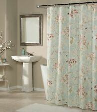 Studio D Millie Floral Faux-Linen Shower Curtain & Hooks Aqua 70x72