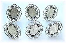 6 Antiqued Silvertone 18mm x 13mm CAMEO New Wave Adjustable RING SETTINGS FRAMES