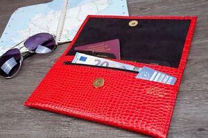 Deluxe UK Croc Grain Leather Travel Wallet Organiser Passport Money Tickets