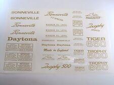 Mylar decal sheet Triumph unit 500 650 Bonneville Daytona Tiger Trophy GOLD