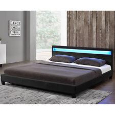 Polsterbett Kunstlederbett Doppelbett mit LED Bettgestell schwarz 140 x 200 cm