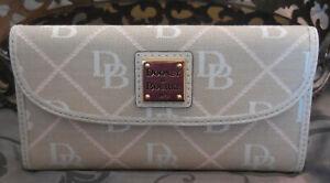 Dooney & Bourke ~Continental Signature Canvas Wallet~QQ507~ECRU~PINK~NWT $138