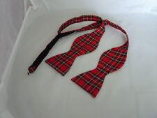 (B) Tartan Rojo Royal Stewart poliéster que ata uno mismo Pajarita & gt con Transparente instrucciones
