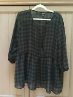 Torrid size 3 buffalo check blouse. Green and Black. Holiday ready!!