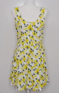 H&M Divided Sleeveless Dress Fit & Flare Midi Lemon & Leaf Print Womens size 14
