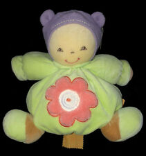 Doudou boule Patapouf Poupon fille vert menthe mauve fleur orange Kaloo 24 cm